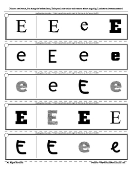 Letter E Reading Discrimination Strips for Fluency and Alphabet Recognition