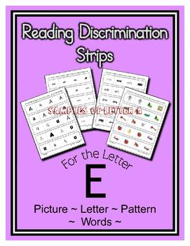 Letter E Reading Discrimination Strips for Fluency and Alp