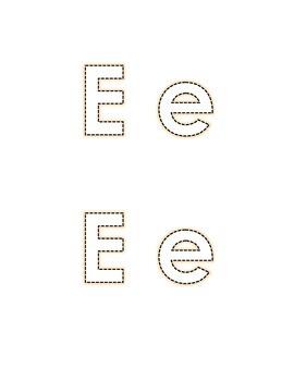 Letter E Recognition Draw a Line Match Trace Color Pick-out