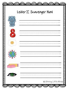 Letter E Scavenger Hunt