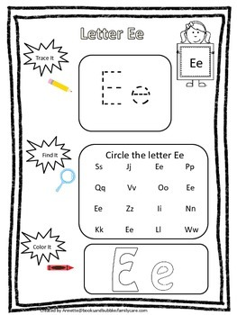 "Letter ""E"" Trace it, Find it, Color it.  Preschool printable worksheet. Daycare."