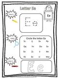 "Letter ""E"" Trace it, Find it, Color it.  Preschool printable worksheet. Daycare."