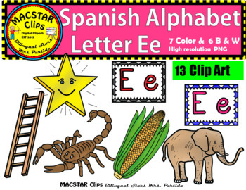 Letter E e Spanish Alphabet Clip Art   Letra Ee  Personal and Commercial Use
