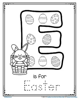 graphic regarding Letter E Printable titled Letter E is for Easter Hint and Colour Printable Totally free