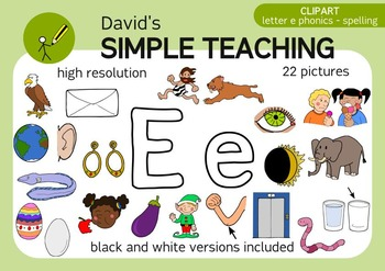 Letter E phonics - spelling clipart with free preview
