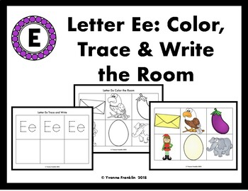 Letter Ee Color, Trace & Write the Room