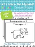 Letter Ee *Editable* Alphabet Emergent Reader