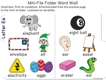Letter Ee Mini-File Folder Word Wall Activity Pack