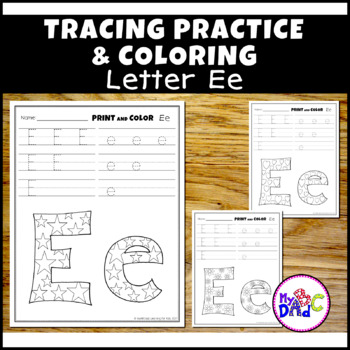 Letter Ee Printing and Pattern Coloring Worksheets