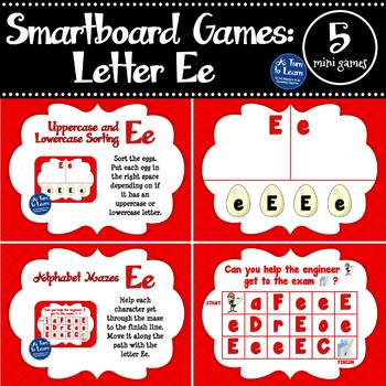 Letter Ee Smartboard Games (5 mini games) (Smartboard/Promethean Board)