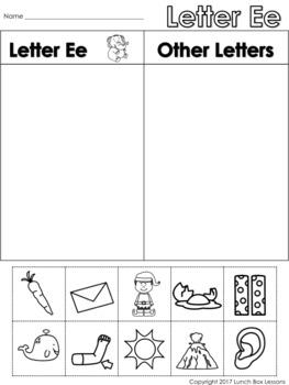Letter Ee Beginning Sound Sort/Phonemic Awareness