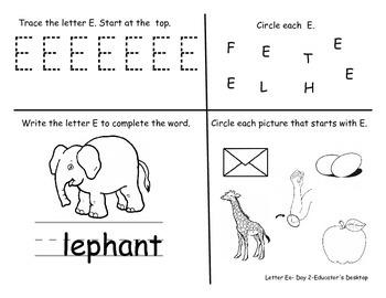 Letter Ee- Worksheets