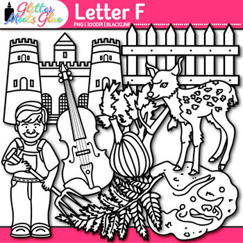 Letter F Alphabet Clip Art {Teach Phonics, Recognition, and Identification} B&W