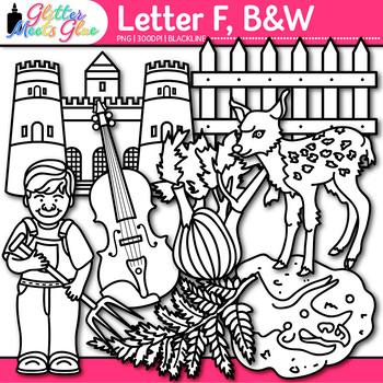 Letter F Alphabet Clip Art | Teach Phonics, Recognition, & Identification | B&W