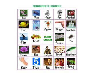 Letter F Bingo