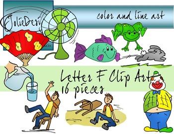 Letter F Clip Art - Color and Line Art 18 pc set