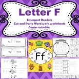 Letter F activities (emergent readers, word work worksheet