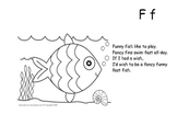 Letter F Fancy Fish - Highlight letter and color Fish