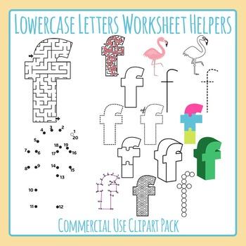 Letter F (Lowercase) Worksheet Helper Clip Art Set For Commercial Use
