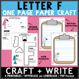 Letter F One Page Paper Crafts - Fish and Flamingo with Writing Activities