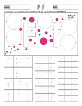 Letter Ff Printing and Picture Find Worksheets