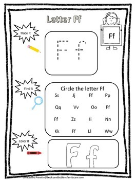 "Letter ""F"" Trace it, Find it, Color it.  Preschool printable worksheet. Daycare."