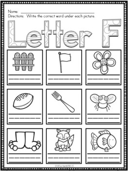 Letter F Vocabulary Cards