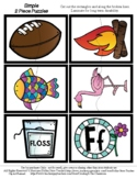 Letter F Word Pictures - 2 Piece Puzzles - #60CentFinds -