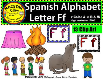 Letter F f Spanish Alphabet Clip Art   Letra Ff  Personal and Commercial Use