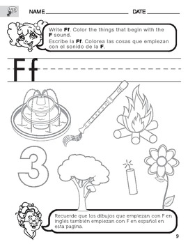 Letter f sound worksheet with instructions translated into spanish letter f sound worksheet with instructions translated into spanish for parents spiritdancerdesigns Gallery