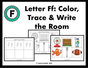 Letter Ff Color, Trace & Write the Room