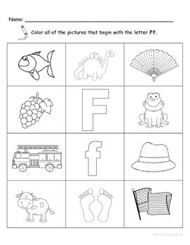 Letter Ff Words Coloring Worksheet