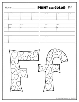 Letter Ff Printing and Pattern Coloring Worksheets