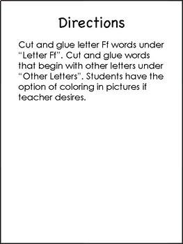 Letter Ff Sort Freebie!