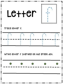 Letter Ff activity worksheet printable trace & write (lowercase)