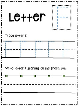 Letter Ff activity worksheet printable trace & write (uppercase)