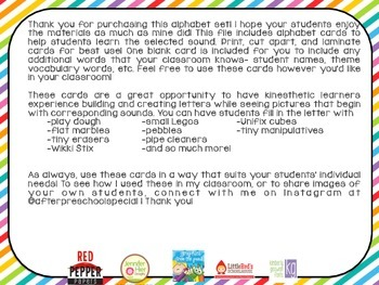 Letter Builder Cards A Kinesthetic Literacy Center