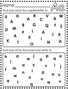 Letter Find A-Z : 26 Pages