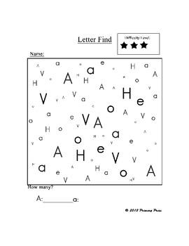 Letter Find: Letter A Pack