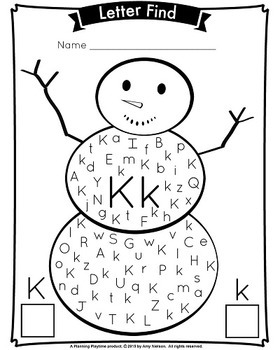 Letter Find - Winter Snowman Theme