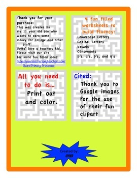 Letter Fluency Mazes Vowels/ Consonants/ Capitals/ Lowercase/ b/d/p/q fluency
