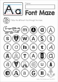 Letter Font Discrimination Maze