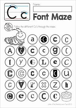 Letter Font Discrimination Maze By Lavinia Pop Tpt