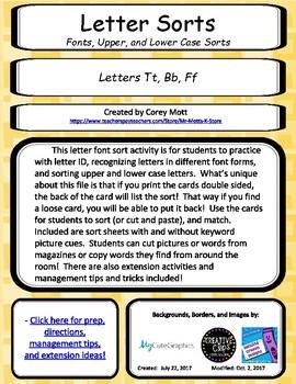 Letter Font and Upper / Lower Case Letter Sorts