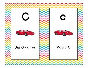 Letter Formation Cards for Handwriting Without Tears - Rainbow Chevron