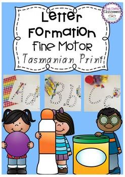 Letter Formation Fine Motor Printables - Tasmanian Print Font