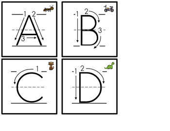 Letter Formation Flash Cards with Initial Sound Picture Support