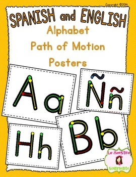 Handwriting: Letter Formation Paths of Motion Posters/Cards (Spanish & English)