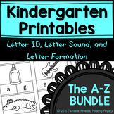 Letter Formation, Letter ID, and Letter Sound Printables Bundle (A-Z)