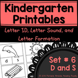 Letter Formation, Letter ID, and Letter Sound Printables (D,S)